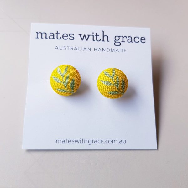 Mates With Grace Golden Leaves Stud Earrings