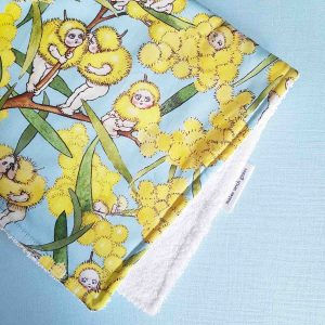 Mates With Grace May Gibbs Blossom Babies Sky Burp Cloth