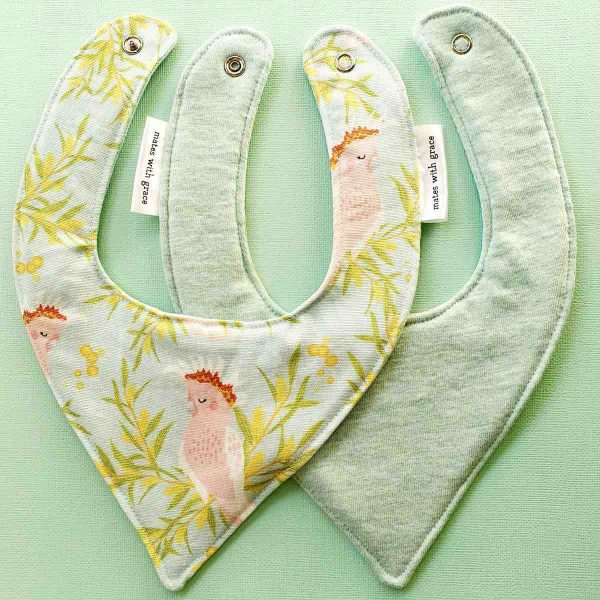 Mates With Grace Linen Cockatoo Bib