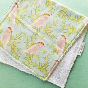 Mates With Grace Linen Cockatoo Burp Cloth
