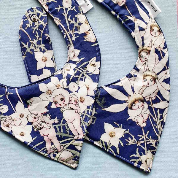Mates With Grace May Gibbs Flannel Flowers Navy Bib