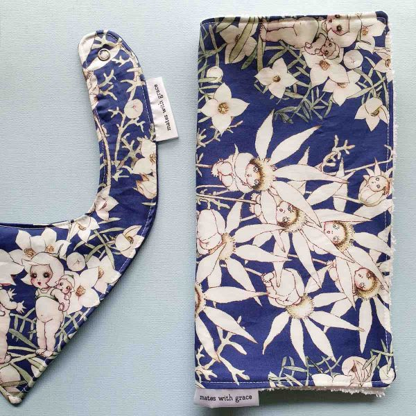 Mates With Grace May Gibbs Flannel Flowers Navy Burp Cloth